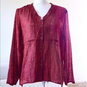J Jill embroidered button blouse sheer boho